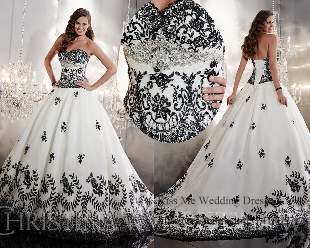 Embellished White and Black Wedding Dress 2015 Princess Lace Bridal ...