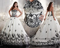 Embellished White and Black Wedding Dress 2015 Princess Lace Bridal Gown Lace up Back Court train Vestido de Noiva