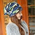 Novo 2016 Chapéus de Inverno para Homens e Mulheres Gorros Simples Malha Camuflagem Ski Balaclava Chapéu dos homens Elásticos para a Quimio Quente Verde L2