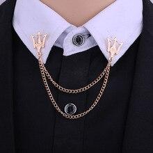 Korean Metal Crown Brooch Pin Jewelry Luxury Tassel Chain Lapel Shirt Small Suit Badge Shi