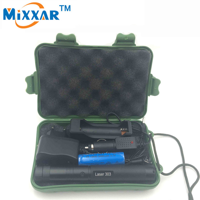 RU ZK30 5000mw Laser Pointer Laser 303 Green Adjustable Focal Length with Star Pattern Filter +18650 battery charger + Box