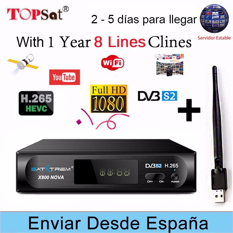 Satxtrem X800 NOVA HD Recettore DVB-S2 Ricevitore TV Satellitare Decoder + Europa 8 cline per 1 anno spagna + USB WIFI PK V8 NOVA