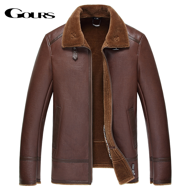Gours Winter Genuine Leather Jacket for Men Fashion Brand Brown Sheepskin Jackets and Coats with Wool Lining New Arrival 4XL