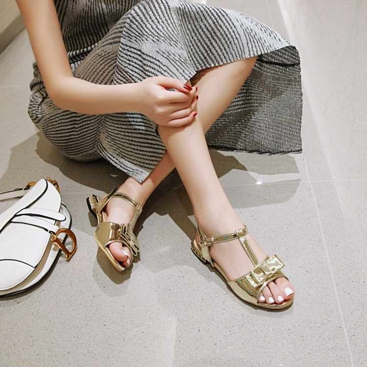 גדול גודל 11 12 עקבים גבוהים סנדלי נשים נעלי אישה קיץ גבירותיי פתוח בוהן שטוח העקב פשוט סנדלי ב טהור צבע