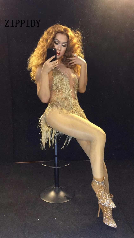 2019 блестящие золотые стразы кисточка Цельный боди трико одежда женская Праздничная Женская певица кристаллы костюм наряд