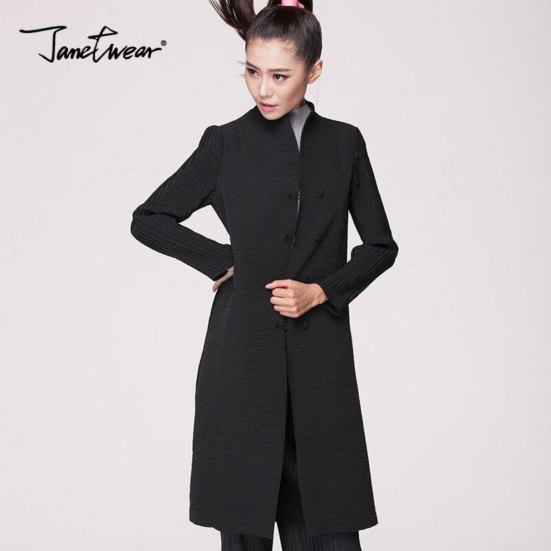 Miyake Fold classic models, retro big yards, women's Chinese fashion coat, windbreaker woman pleated trench free shipping
