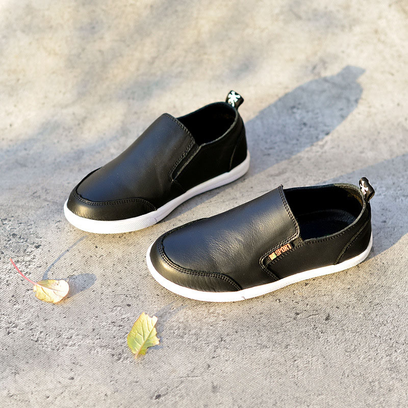 2018 Spring New Childrens Casual Shoes Boys Genuine Leather Flat Shoes For Kids Boy Comfort Peas Shoes Fashion Sneakers MX40 ...