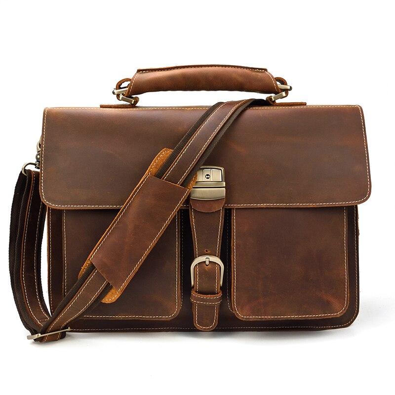 HTB1ggpHQNjaK1RjSZFAq6zdLFXaS MAHEU Luxury Fashion 100% Genuine Leather Men Briefcase Cow Leather Laptop Bag Vintage Shoulder Bag Real Cowhide Computer Bag