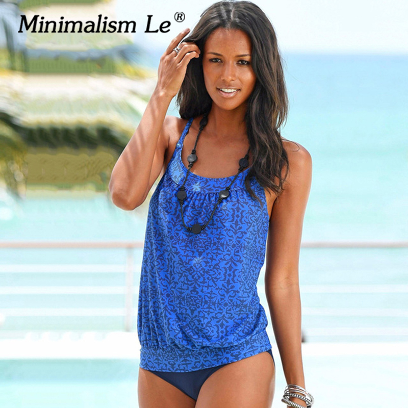 Minimalism Le 2018 Sexy Pure Color Tankini Swimsuit Women's Swimwear Bikini Set Beach Wear Print Bathing Suits Halter Top 8 sexy minimalism bikini top