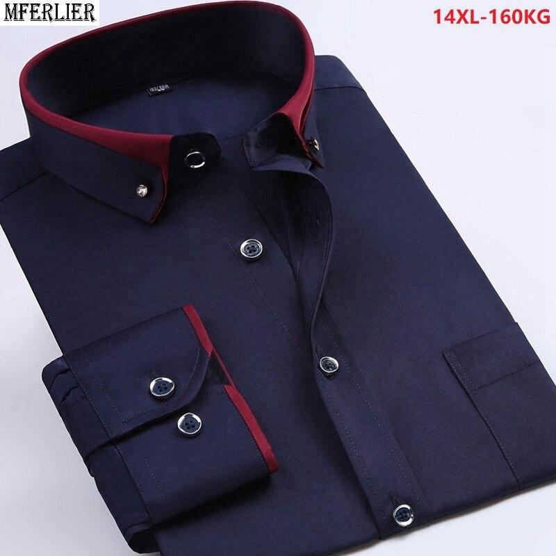 Men Wedding Shirt Formal Long Sleeve Large Size Big 7XL 8XL Dress Shirts Pink Formal Navy Blue 9XL 10XL 12XL Blouse Purple Loose