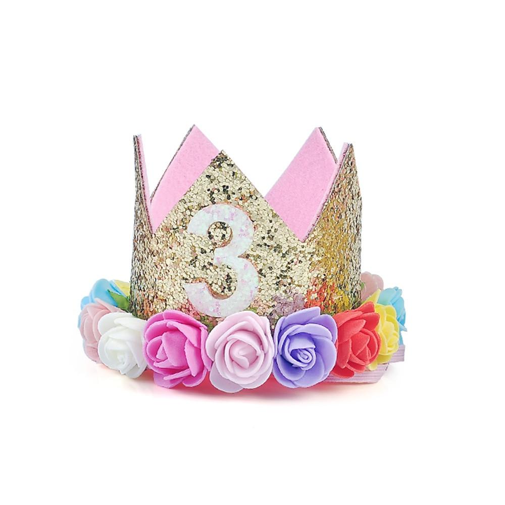 1st Baby Girl Birthday Flower Headband Prince Party Hat Hairband Photo Prop