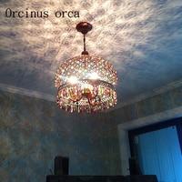 Bohemia color retro crystal chandelier iron creative round chandelier bedroom restaurant Mediterranean lights Postage free