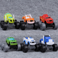 6 Pçs/set Bonito Legal Incêndio Máquinas Monstro Rússia blaze milagre carros Garoto Brinquedos Transformação Brinquedos Do Carro Do Veículo