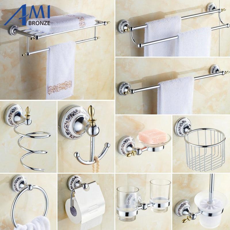 81CP Series Chrome Polished Porcelain Bathroom accessories Bath Hardware Set <font><b>Towel</b></font> Shelf <font><b>Towel</b></font> Bar Paper Holder Cloth Hook