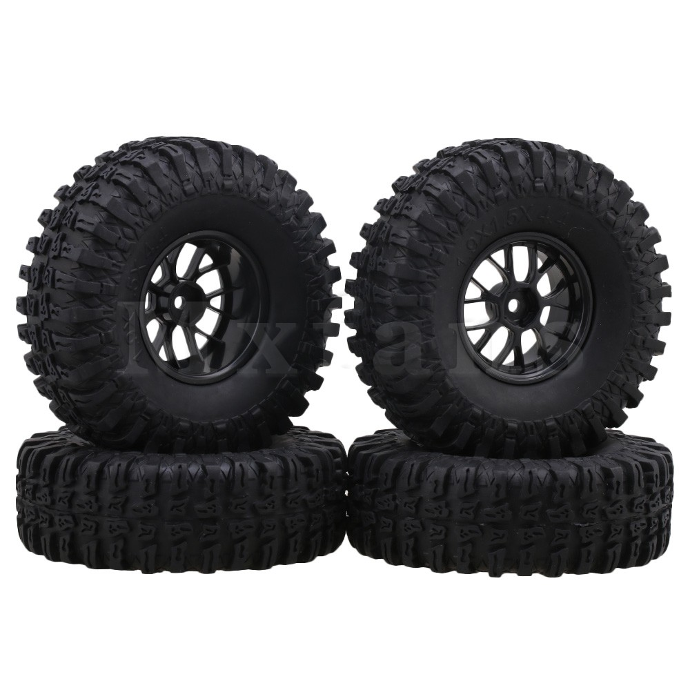 Mxfans Black Rubber Tire & 1.9Inch Plastic Mesh Wheel Rim for RC 1:10 Rock Crawler Car Pack of 4 10pcs 20 8 1 9mm rubber hollow tire car wheel model wheels diy toy accessories for car f17678