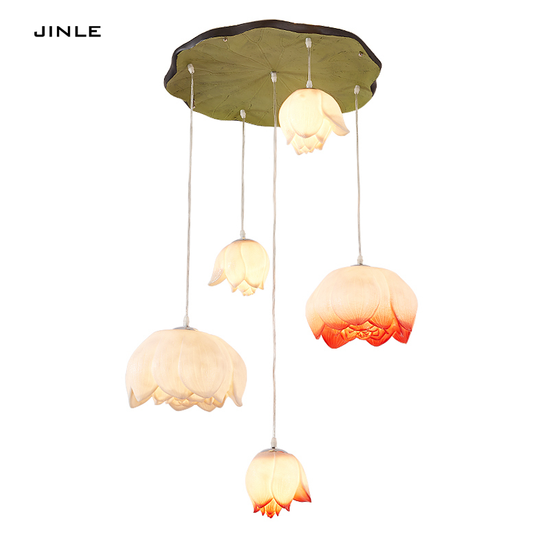 Modern new Chinese style chandelier living room restaurant corridor resin lamp simple creative personality art lotus luminaires chinese style wooden 1 2 3 heads lamps chinese restaurant new classical restaurant chandelier wooden sheepskin chandelier