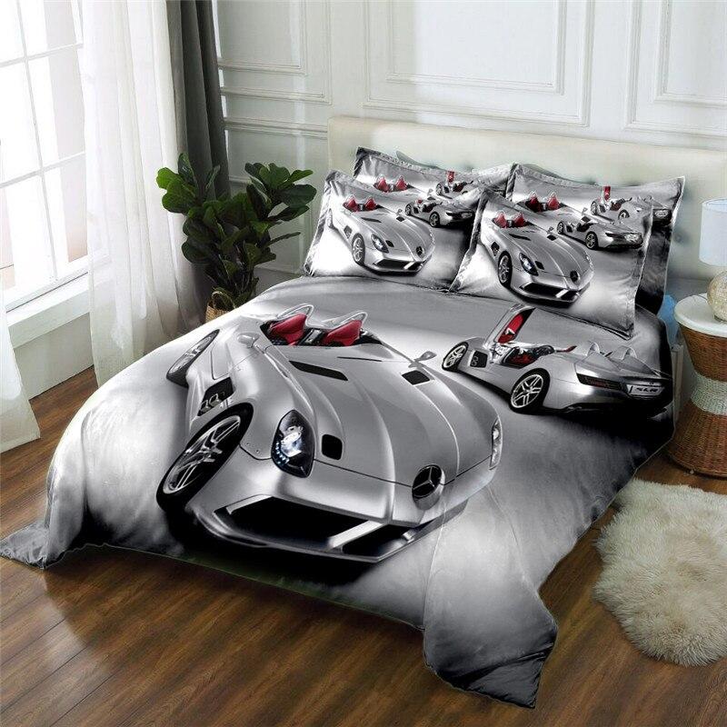 Новый продукт Серебристый Автомобиль 3D печатных 4 шт. Постельное белье из микрофибры постельное белье Набор пододеяльников для пуховых одеял комплект кровать Простыни