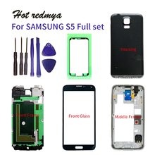 S5 Full Housing Case For Samsung Galaxy S5 G900 Middle Frame + Rubber Seal Back Case + Glass Lens Auto Parts  + Tools цена