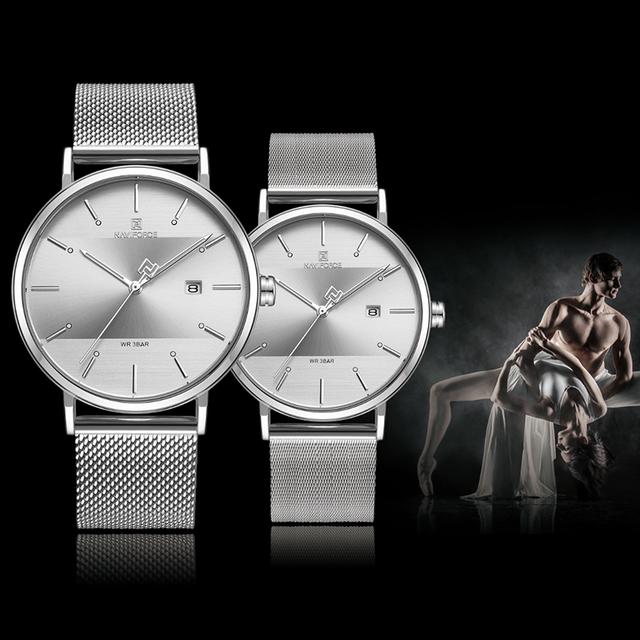 Men Women Waterproof Full Steel Couple Wristwatches