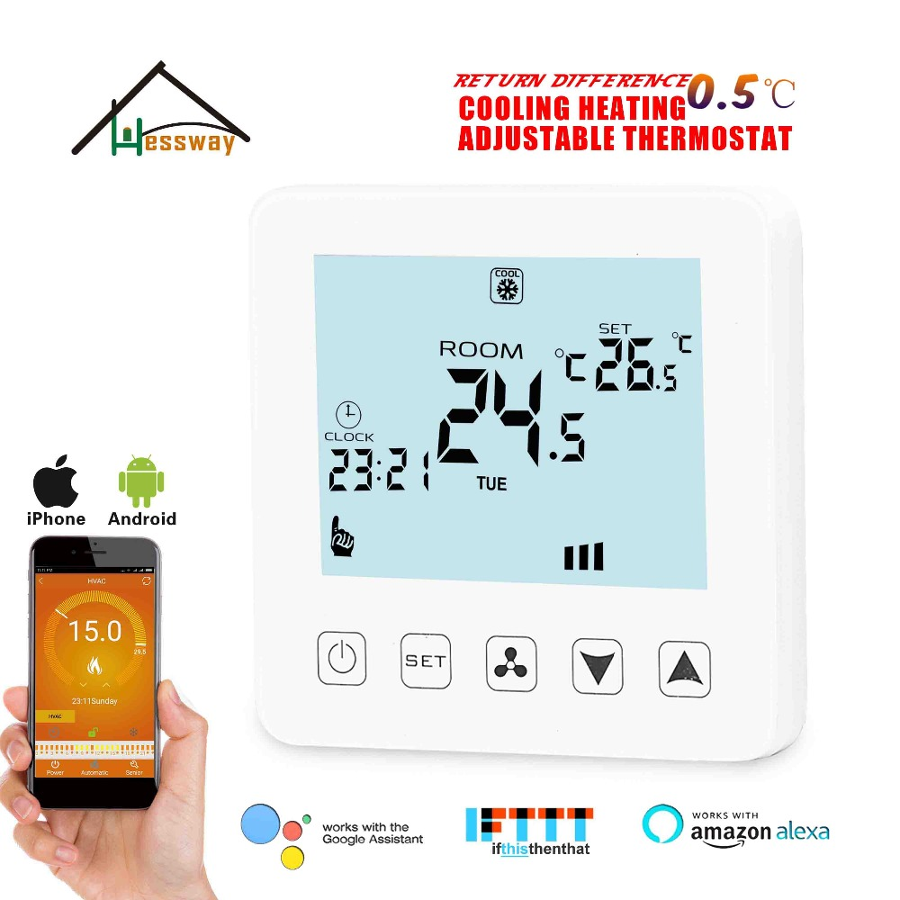 HESSWAY TUYA 4P&2P Cooling Heating Temp Raumthermostat Wifi For Hysteresis 1degree With Amazon Alexa And Google Home