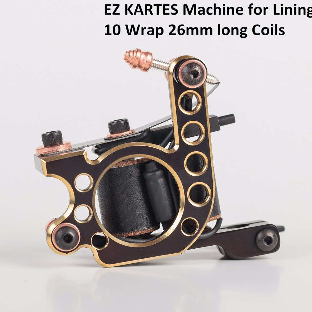 EZ KARTES Handmade Premium Coil Tattoo Machine 10 Wrap Long Coils for Liner Shader Iron frame Tattoo Gun Machine professional handmade tattoo machine 10 wrap coils iron cast frame custom tattoo gun for liner shader free shipping tm 811