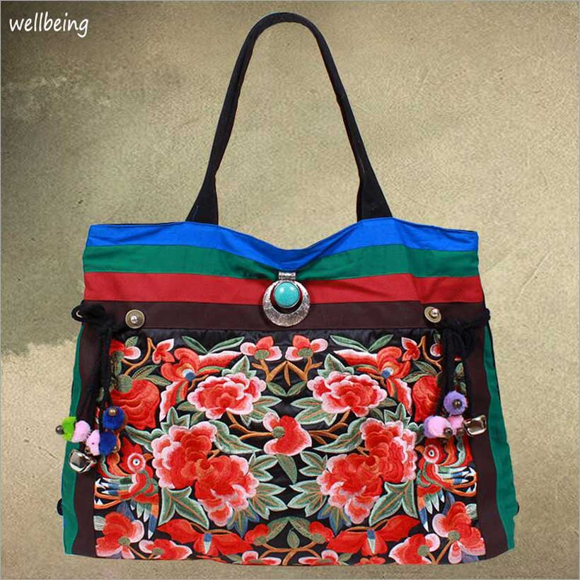 2016 NEW peony tassel canvas embroidered women bag, national characteristics single messenger bag women's fashion, crossbody bag