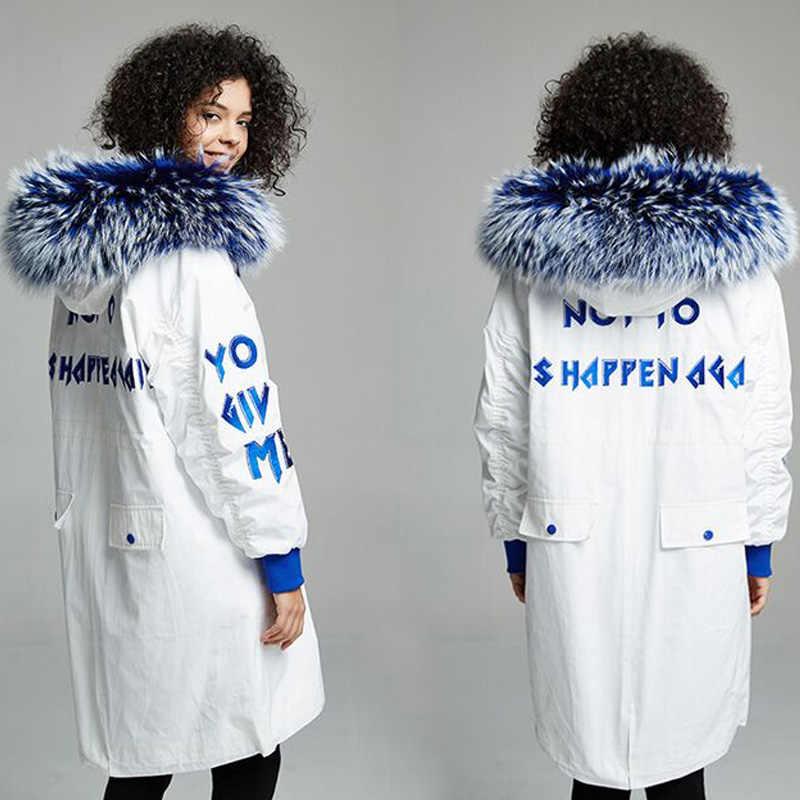 Натуральный мех енота 2019 зимняя куртка пальто Женская Толстая теплая парка верхняя одежда белый пуховик на утином пуху плюс размер женское пальто