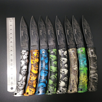 Mini plegable cuchillo de bolsillo de supervivencia para acampar de plástico mango fruta cuchillo doble hoja de acero inoxidable portátil al aire libre herramientas