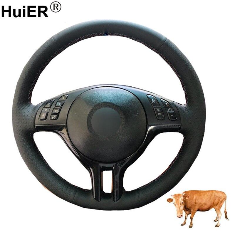 HuiER couture à la main housse de Volant de voiture couche supérieure en cuir de vache Volant pour BMW E39 E46 325i E53 X5 tresse sur le Volant
