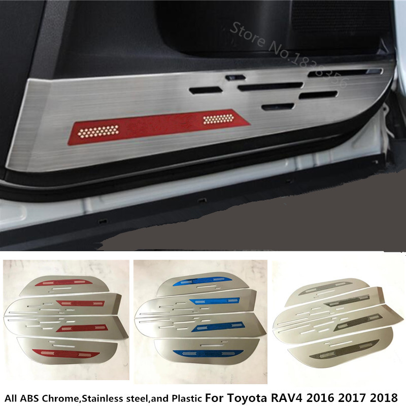 For Toyota RAV4 2016 2017 2018 Stainless Steel Inner Door Protective car styling cover Anti-Kick board Sticker trim Decoration блок питания kromatech 04091b002 сетевая зарядка з у автомобильное