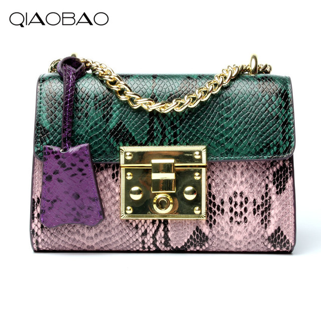 QIAOBAO 2017 Spring Summer Embossed 100% Snakeskin Leather Shoulder Bag Small Crossbody Bag For Women Fashion Classic Flap Bag