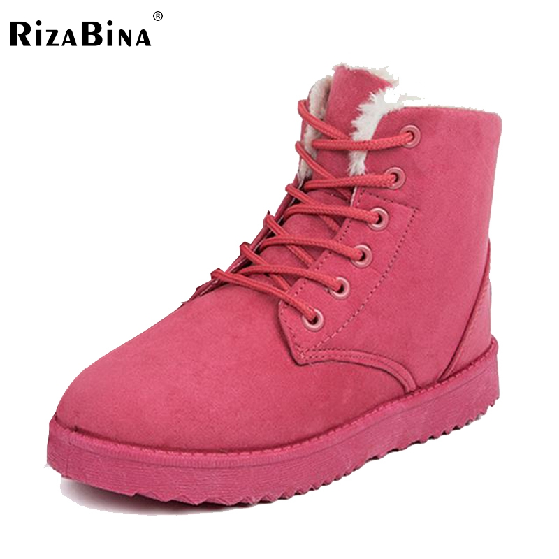 RizaBina Women Boots Snow Warm Winter Boots Botas Mujer Lace Up Fur Ankle Boots Ladies Winter