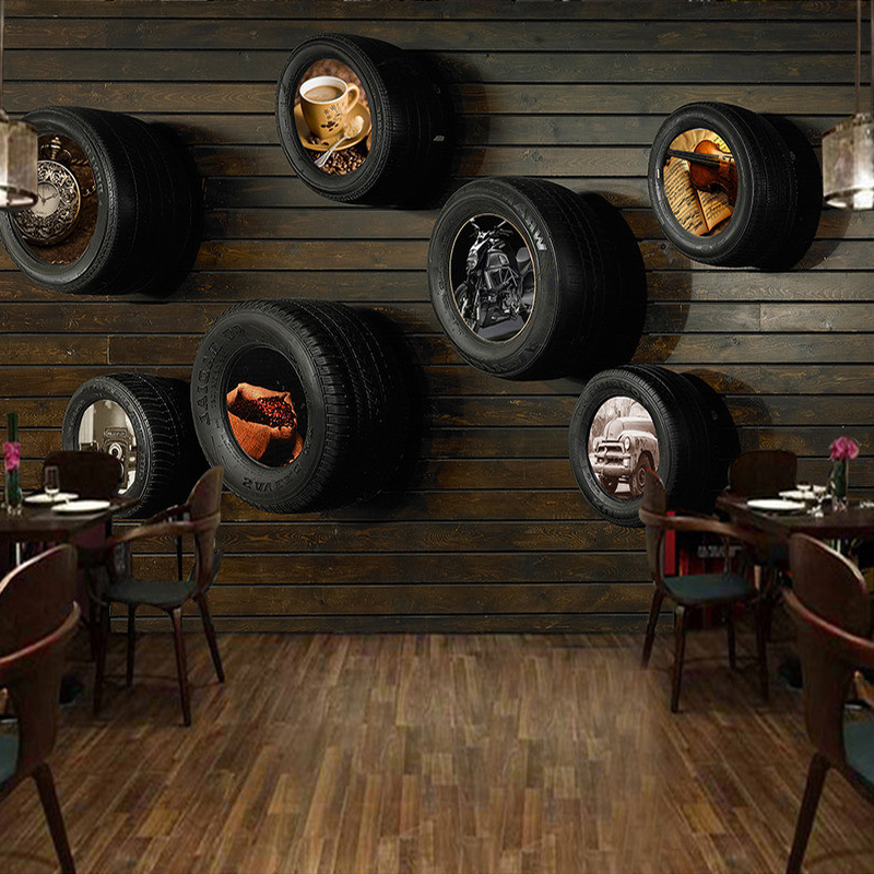 Custom Mural Wallpaper European Style Retro Automobile Tires Wood Grain Wall Painting Living Room Cafe Restaurant Wallpaper 3D marilyn monroe retro wallpaper custom european style movie star настенная панно для постельных принадлежностей