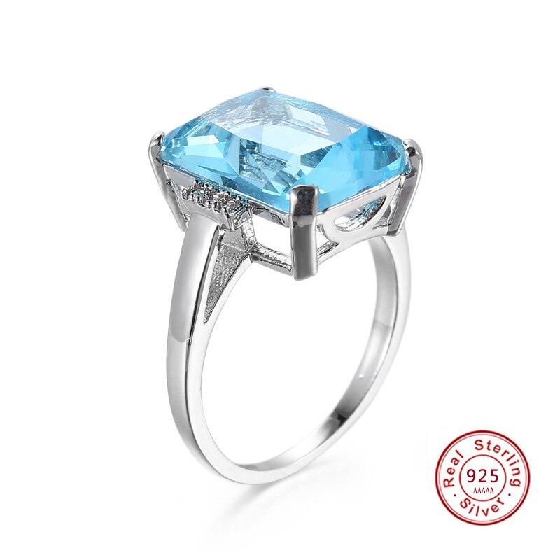 2017 Mode Big Cz Blau Stein Ring Neuheiten Frauen Dame Geschenk Hochzeitstag Zeremonie Silber Farbe Schmuck Großhandel
