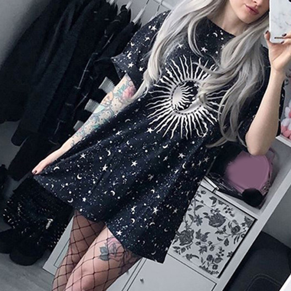 Summer Tshirt Harajuku Loose Long Female T-shirt Moon Star Printed Casual Tshirt Women Tops Tee Shirt