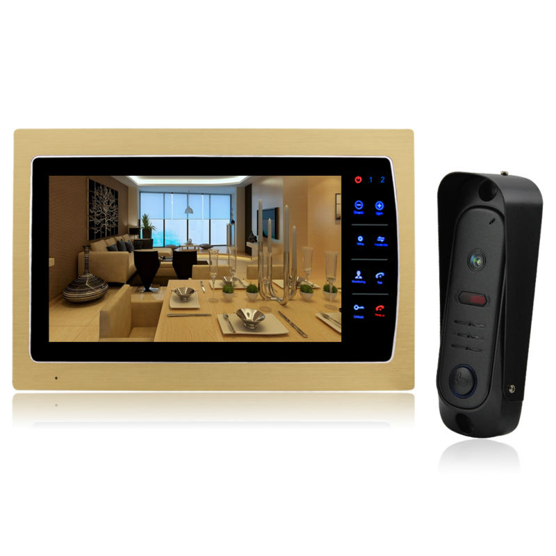 Homefong 10'' Video Door Phone Intercom System Support SD Card Recording & Picture Memory Touch Key Indoor Monitor with Doorbell homefong 10 home wired video door phone audio visual intercom entry system for villa dual way intercom support sd ip65 1v3
