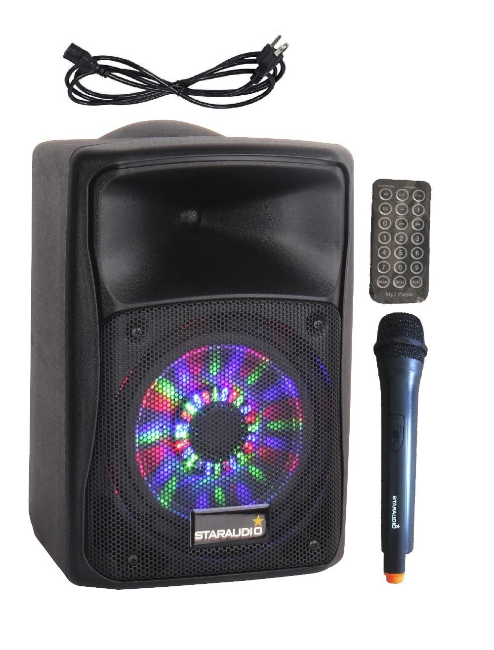 STARAUDIO Pro 8 800W PA DJ Rechargeble Battery Speaker Bluetooth UHF Microphone LED Lighting SBM 8RGB