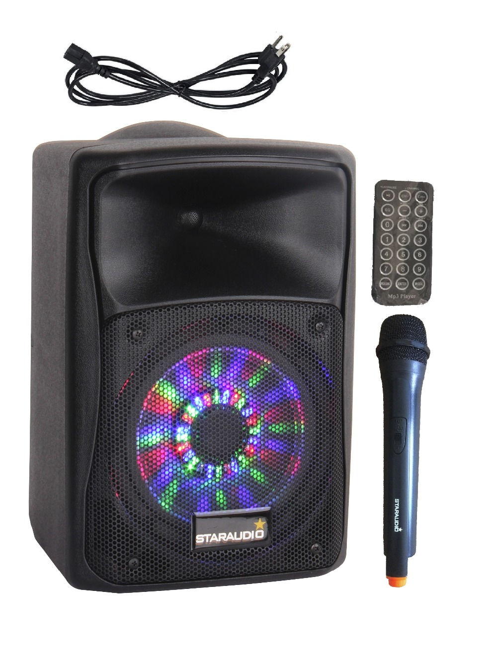 STARAUDIO Pro 8 800W PA DJ Rechargeble Battery BT USB SD MP3 Powered Stage Active Speaker UHF Mic RGB LED Lighting SBM-08RGB