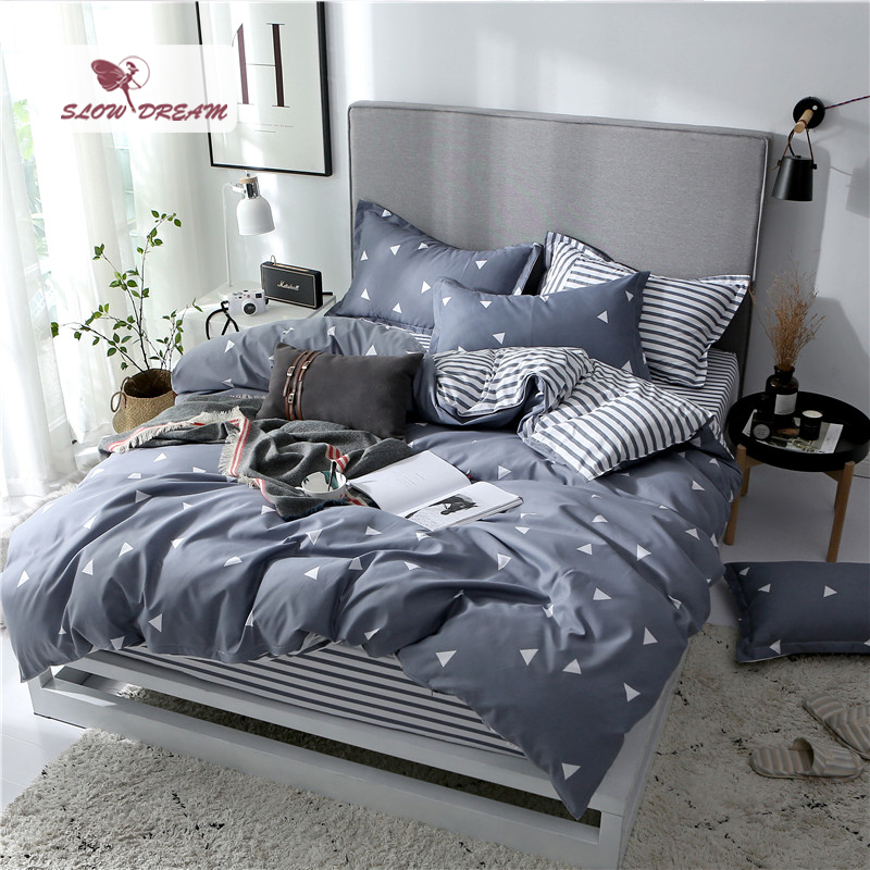 SlowDream Fitted Sheets On Elastic Band Bedding Set Nordic Rubber Sheet Double Twin Bedspread Duvet Cover Set Decor Bed Linen Se