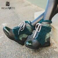 Prova Perfetto 2018 Теплые зимние ботинки меховой декор женские ботильоны на платформе со шнуровкой женские ботинки на танкетке женские ботинки