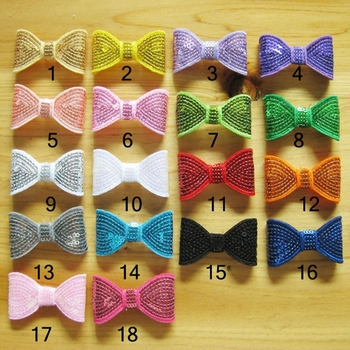 10pcs/lot 18colors Hair Clips DIY Shiny Sequin Bows Knot Fashion Applique Headband Bows For Kids Girls Hair Accessories Hair Bow image