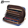 BOSTANTEN Genuine Leather Unisex Card Holder Wallets High Quality Female Credit Card Holders Women Pillow Mini Card holder Purse