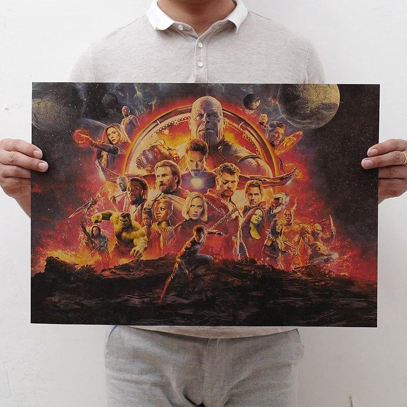 Mling 1 шт., 51,5x36 см, постер из серии Marvel, Мстители, война бесконечности, Ретро плакат, наклейки на стену для гостиной, украшение для дома - Цвет: H07