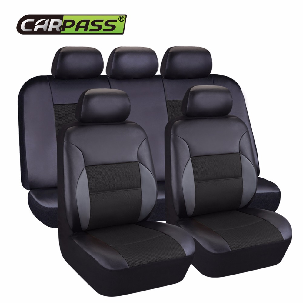 Car-pass Artificial Leather Auto Car Seat Covers Universal Automotive Car Interior Accessories 40/60 50/50 60/40 For 99% Cars new luxury pu leather auto universal car seat covers automotive car seat cover for car lifan x60 for car lada vesta granta
