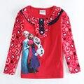 Meninas Top Inverno moda Figura Padrão vermelho T Camisas, Roupas infantis, Baby 1-6A Criança T-Shirt Roupas, longa manga enfant
