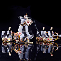 Европейский цветной эмалью стеклянный чайник кофе наборы чашек жаропрочного стекла чай молоко цветок чашка чайник друг подарки