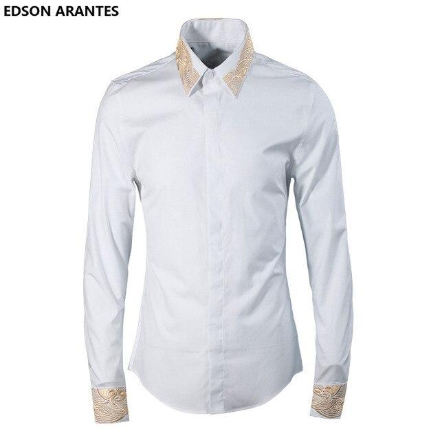37569ed2ceb5 EDSON ARANTES Mens Shirt Chinese Shirt Men Fashion Luxury Gold Collar  Design Embroidered Shirt Man Casual Cotton Slim Fit Shirt