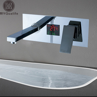 Chrome Digital Display Basin Sink Faucet Wall Mounted Bathroom Vessel Sink Mixer Tap With Embedded Box Hot and Cold Taps