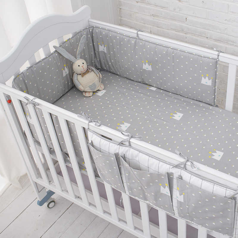 Muslinlife Little Grey Crown Bedding Set, Baby Safe Sleeping Baby Bed Bumpers Set,Soft Baby Cot Bed Hanging Storage Bag