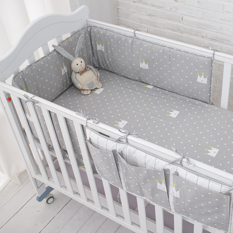 Little Grey Crown Bedding Set,Multi-functional Baby Safe Sleeping Baby Bed Bumpers Set,Soft Baby Cot Bed Hanging Storage Bag(China (Mainland))